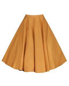 Lindy Bop 'Peggy Sue' Vintage Full Circle Mustard Cotton Swing Skirt BNWT Sz 12