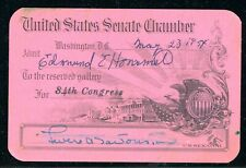 Leverett A. Saltonstal autograph / signature on Visitor Pass for the US Senate.