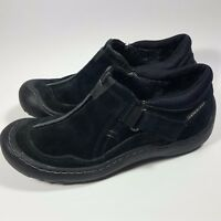 Women's PRIVO Clarks Slip-On Fashion Waterproof Sneakers Shoes-Black Suede-5 M