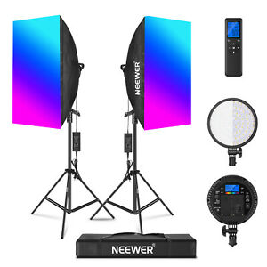 Neewer 2-Pack RGB LED Softbox Lighting Kit Softboxes Diffusers Kit with Stand