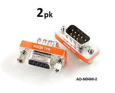 2-PACK DB9 Mini NULL MODEM Male/Female Data Transfer Adapter