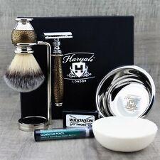 Complete Shaving Set Synthetic Brush & DE Safety Razor Men's Kit Gift For Him