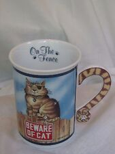 COMICAL CATS On The Fence Mug Cup Beware Of Cat  Gary Patterson DANBURY MINT EUC