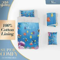 Coral Reef Kids Cartoon Blue Quilt Cover Sets Single Double Queen King Size