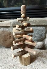 Folk Art Homemade Rustic Wood Primitive Christmas Tree Adjustable Standing 16""