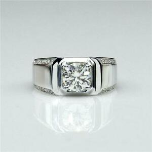 2 CT Brilliant Cut Round Diamond Men's Engagement Ring in 14K White Gold Finish