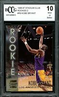 1996-97 Stadium Club Rookies 2 #R9 Kobe Bryant Rookie Card BGS BCCG 10 Mint+