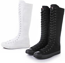 Womens Girls Lace Up Canvas Knee High Sneakers Zip Boots Punk Gothic Shoes zhou8