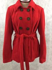 Old Navy red peacoat size L large double breasted belt fleece polyester