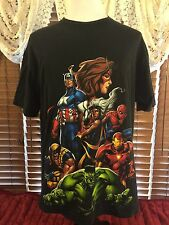Men's VGUC MARVEL XL Extra Large Black SS Super Heroes Graphic T-Shirt