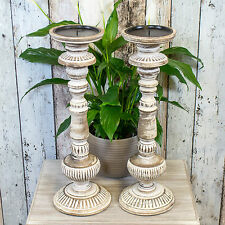 2 x 46cm Faisal Wooden Candle Sticks Holders Vintage Carved Pillar Church Rustic