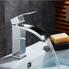 New Modern Bathroom Square Waterfall Basin Sink Mixer Tap Chrome Cloakroom UK