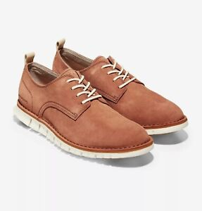 NWOB 10.5 M Cole Haan Zerogrand Stitchout Oxford Mens Casual Shoes Orange Suede
