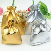25/50/100Pc Gold/Silver Organza Wedding Favor Party Candy Gift Bags Pouch 12x9CM