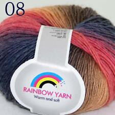 Sale Soft Cashmere Wool Colorful Rainbow Wrap Shawl DIY Hand Knit Yarn 50gr 08