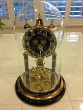 Vintage Haller/Sloan Anniversary Clock Black Face With Roses Quartz