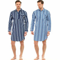 MENS TRADITIONAL 100% BRUSHED COTTON STRIPED NIGHTSHIRT WARM FLANNEL 13281