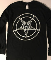 PENTAGRAM T Shirt Long Sleeve Satanic Clothing witchcraft black heavy metal S-XL