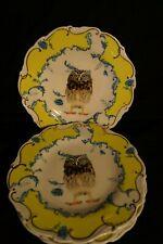 New Anthropologie 4 Dinner Plates Nature Table Owl Gold Trim - Artist Lou Rota