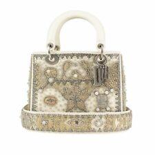 NWT CHRISTIAN DIOR 'Latte' Beige Beaded Lady Dior Hand Bag