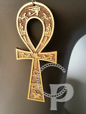 Ankh Egyptian cross hieroglyphs earrings natural wood gold painted large sizes