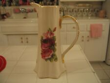 Beautiful Ceramic Pitcher With Pink And Burgandy Roses And Gold Accents