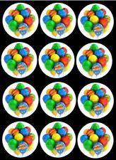 12 Precut Edible Happy Birthday Multi colour Balloon Cupcake Toppers