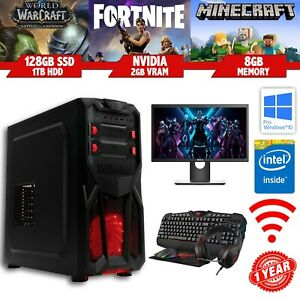 Cheap FORTNITE Gaming PC Bundle - Intel i7 - 8GB - SSD - 1TB - Nvidia - Win10