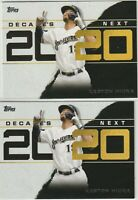 2020 TOPPS SERIES ONE DECADE'S NEXT Keston Hiura Milwaukee Brewers 2 CARD LOT