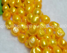 "8-9mm Baroque Gold Freshwater Real Pearl Gems Loose Beads 14"" JL252"