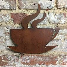 Rusty Coffee Tea Cup Lettering Letters Sign Metal Shop Home Bar Pub Cafe Bistro