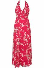 COAST ZIAN HOT PINK CERISE FLORAL SILK CHIFFON HALTER MAXI DRESS 10/12 (14) ONCE