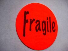"500 RED FRAGILE LABEL STICKERS BIG 2"" ROUND."