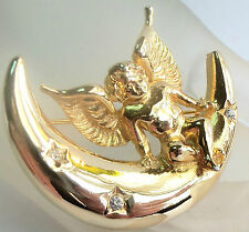 GIVENCHY VINTAGE GOLDPLATED  ANGEL SITTING ON THE MOON BROOCH  Estate Jewelry