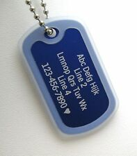 PERSONALIZED Dog Tag Necklace VERTICAL Wording BLUE with CLEAR Silencer