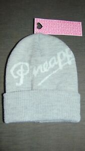 Pineapple Girls Knitted Ribbed Retro Beanie Hat ONE SIZE Grey Mix BNWT