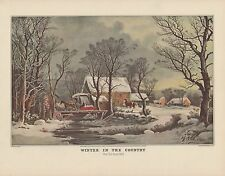 "1952 Vintage Currier & Ives ""COUNTRY IN WINTER, OLD GRIST MILL"" COLOR Lithograph"