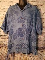 MENS TOMMY BAHAMA Floral BLUE HAWAIIAN SHORT SLEEVE SHIRT 100% SILK LARGE L