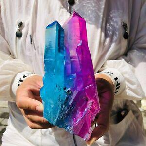827g Clear Titanium Coating Aura Quartz Crystal Cluster Specimen Healing AB516