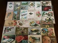 ~Lot of 25~ Pretty ~Flowers & Scenes~Antique Floral Greetings Postcards-h-23