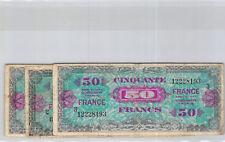 France Trésor Lot de trois 50 Francs FRANCE 1945 Sans série - série 2 et 3