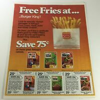 VTG Retro 1984 Kellogs Cereals with Free Burger King Fries Print Ad Coupons