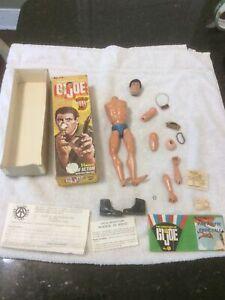 "1975 GI Joe Kung Fu Grip Box & Bullet Man ? Action  Figure Fuzzy Hair 12"" Parts"