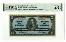 Canada. Bank of Canada, 1937, $5, BC-23b, PMG AU 53 EPQ Gordon | Towers. BABN
