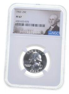 1963 PF67 Proof Washington Quarter NGC Graded - White Coin Spot Free PR *0847