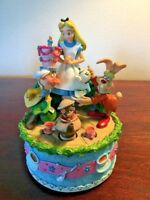 Rare Disney Darling Alice In wonderland Music box Musical Mad hatter