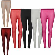 Womens Mesh See Through Full Ankle Length Skinny Fitted Jeggings Leggings 8-14