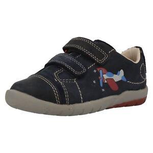 Solde Garçons Clarks Premier Chaussures Crochet et Boucle Fermeture Softly Jet