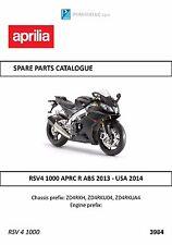 Aprilia parts manual book RSV4 1000 APRC R ABS 2013 - USA 2014