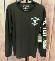 NWT B. Tuff Jeans T-Shirt Men's Size XL Brown Long Sleeve Embroidered